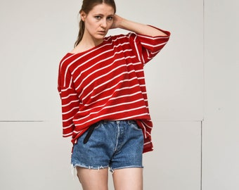 vintage terry cloth oversized t shirt bright nautical red and white striped crew neck short sleeves top medium size