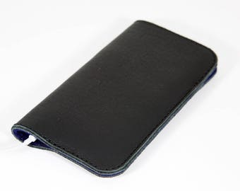 Black Leather iPhone 6, 7, 8 Sleeve, iPhone Cover, iPhone Case, iPhone Holder