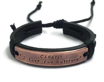 Black Leather Man's Bracelet, Personalized Bracelet, Custom Copper Bracelet, Hand Stamped Bracelet, Engraved Bracelet, Custom Bracelet