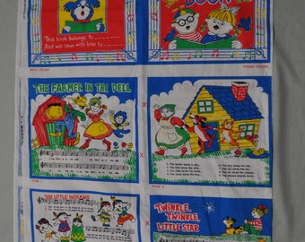 Fabric Panel - Cloth Book - Children's Nursery Rhyme Songs - Bright Colors
