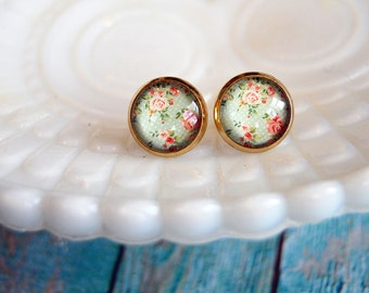 shabby chic gold plated floral framed post earrings- vintage inspired pink rose robins egg