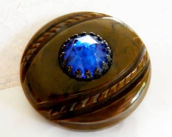 Bejeweled Bakelite Button Blue Glass Stone