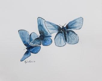 Stampa di acquarello da me realizzato, farfalle