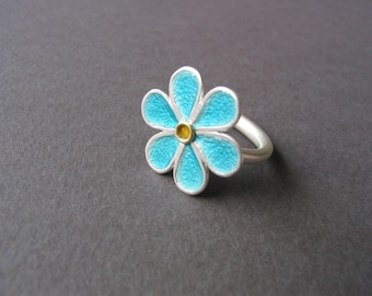 enamel flower ring 925 silver 900 gold