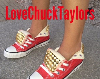Studded Converse Chuck Taylors Womens Shoes Red All Sizes