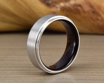 Mens Wedding Band, African Blackwood, Cobalt Wedding Ring, Men's Wedding Ring, Women's Wedding Ring, Men's Ring, Unique Wedding Band