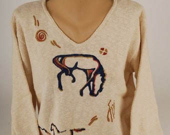 Hand Painted 100% Cotton Sweater 'GHOST HORSE DANCE' design on Natural Sweater