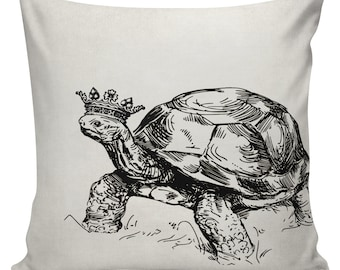 Turtle Pillow Cover Cotton Canvas Throw Pillow 18 inch square Turtle with Crown #UE0270