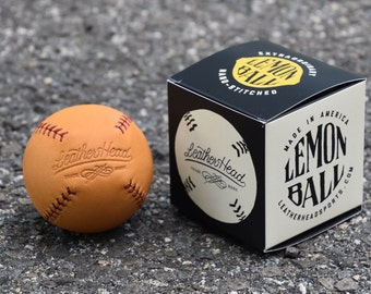 LEMON BALL Vintage style lemon peel baseball, tan leather with red stitch, Sports, Play, Games, Handmade (LB-Gtan-Red)