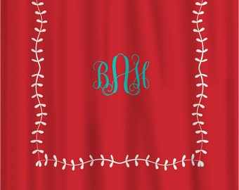 Custom Shower Curtain -Simplicity Leaf Border and monogram in your colors - Shown Scarlet, Turquoise & Pearl, can do any colors