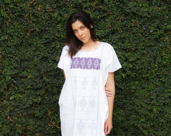 White with purple Huipil Dress Handwoven