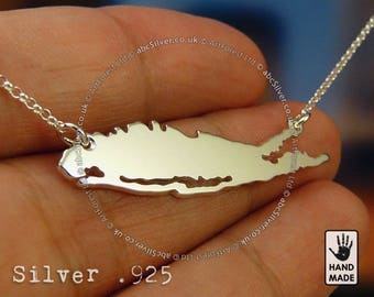 LONG ISLAND Map Handmade Sterling Silver .925 Necklace in a gift box