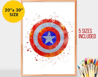 Captain America shield, superheroes watercolor, captain america wall art, avengers, captain america wall decor, marvel print, poster