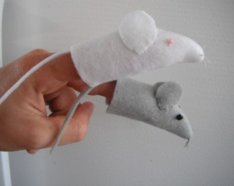 Mice Felt Finger Puppets / Mouse Puppet / Finger Puppet / Puppet / make-believe / play time / quiet time / road trip
