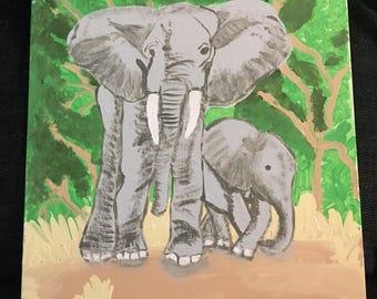 Elephant Mom & baby 11x16