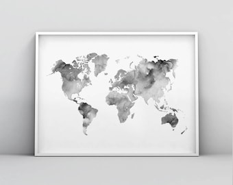 Grey world map etsy grey and white world map printable modern map print map poster world map gumiabroncs Image collections