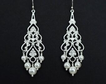 Bridal Earrings, Bridal Jewelry, Wedding Earrings, Bridal Chandelier Earrings, Pearl Chandelier Earrings, Silver Filigree & Swarovski Pearls