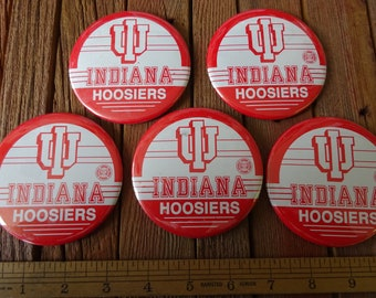 Large Lot of 5 Vintage Indiana University Pinback Button Pin   IU Hoosiers