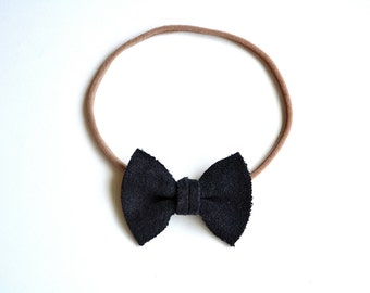 NAVY SUEDE Leather TINY Bow Headband Photo Prop for Newborn Baby Little Girl Child Adult Blue Tan Nude Headwrap