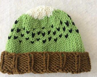 Kiwi hat, baby knit fruit hat, kawaii hat, kiwi baby hat, kiwi newborn hat, knit fruit hat, knitted hat for babies, kiwifruit hat, baby cap