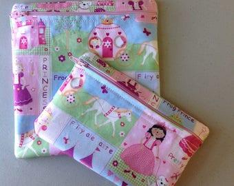 Reusable sandwich bag andSnack Baggie.. Zippered pouch.Fairytale princess.
