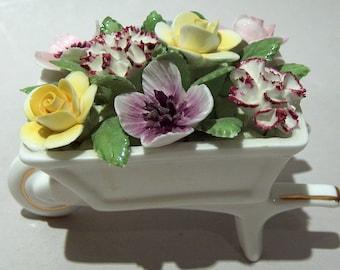8589: Vintage Royal Doulton Bone China Flower Wheel Barrow Figurine Bouquet at Vintageway Furniture