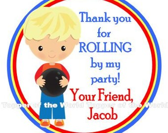 12 Personalized Bowling blonde hair Boy Birthday Party Favor Thank You Tags or Stickers You Choose