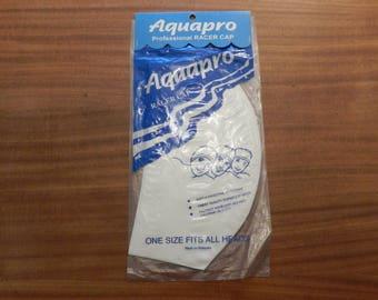 AquaPro White Rubber Swim Bathing Cap