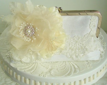 Ivory Bridal Clutch / Vintage Bride / French Country Wedding / Cottage Chic Wdding
