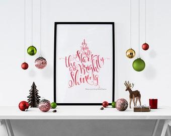 Oh Holy Night Christmas Decoration Christmas Gallery Wall Art Christmas Star Print Christmas Gift Swarovski Typography Star Stocking Stuffer