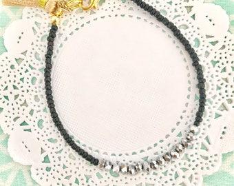 black and silver seed bead friendship bracelet summer beach bracelet