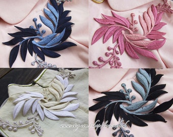 Large Pink White Dark Blue Beige Flower Leaves Embroidery Appliques Patch Lace Trim, Iron on Applique