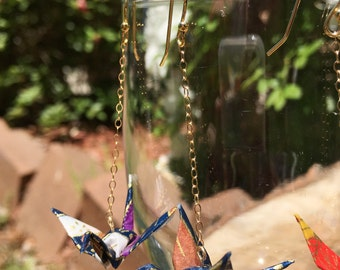 Hand-Folded Origami Crane Earrings, 14K Gold-Plated or NICKEL-FREE Gold colored Ear Wires & 14KT Gold Filled Chain, Japanese, Hypoallergenic