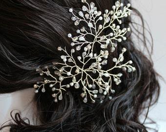 Crystal, Rhinestone & Pearl Bridal Hairpiece, gold or silver finish, wedding hair accessory, bridal hair clip STLYE: Tessa