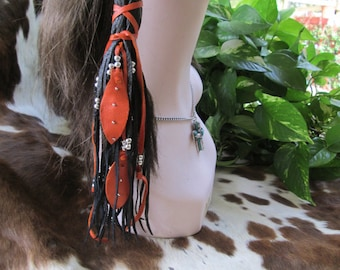 Native American One Hair Wrap Black Deerskin Leather  With Silver Beads And Orange Leather Feathers Hair Wrap