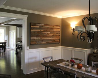 """Reclaimed """"Layers"""" Wall Art made from a variety of reclaimed wood species"""