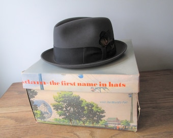 Rare New York Worlds Fair Adam Fedora Hat Vintage 1960s In Unisphere Hatbox