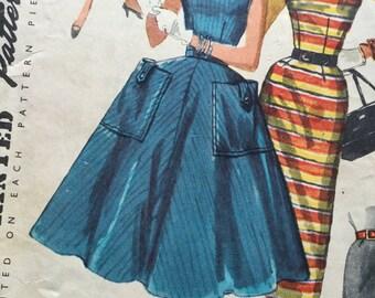 Sewing Pattern -  dress pattern - skirt pattern - 1950s dress pattern - Size 14 Bust 34, Hips 36 - vintage sewing pattern