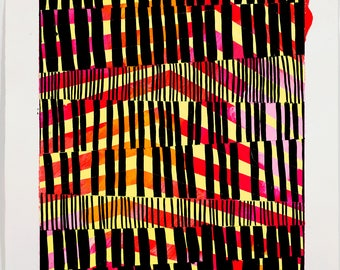 Abstract Painting, Geometric, Black, Red, Yellow NY1673