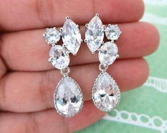 Delphia - Three Shape Cubic Zirconia Post Earrings with Clear White Teardrop, Bridesmaid Jewelry, Bridal Earrings, White Wedding Earrings