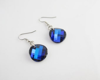 Round Sparkling Cobalt Blue Swarovski Crystal Twist earrings on sterling silver 925 with surgical steel hooks, Deep blue crystal earrings