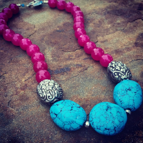 Hot Pink Agate and Turquoise Statement Necklace and Earring Set