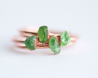 READY TO SHIP. Copper Electroformed Natural Rough Green Mali Garnet Stackable Gemstone Ring. Gemstone Stacking Rings. Mali Garnet Ring.