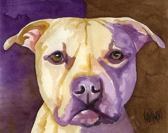 Pit Bull Art Print of Original Watercolor Painting - 11x14 Pitbull Dog Art