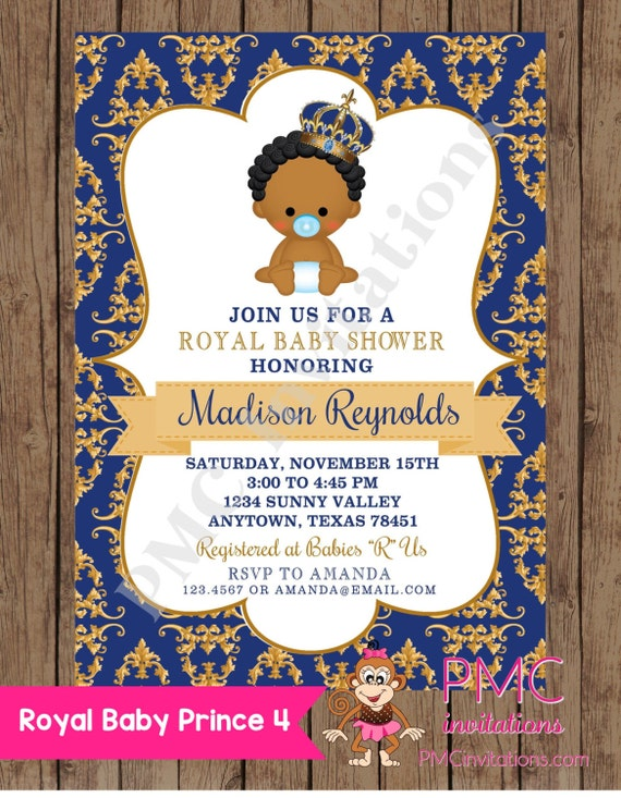 Beautiful Custom Printed African American Royal Prince Baby Shower Invitations   1.00  Each With Envelope