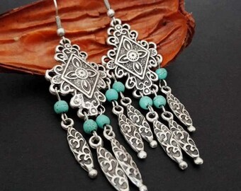 Tribal Earrings |  Boho Bohemian Gipsy Earrings | Silver Plated Earrings | Ethnic Turquoise Earrings | Boho Chic Chandelier Earrings