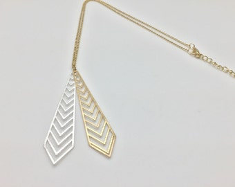 """Gold and Silver Two Tone Laser Cut Necklace // Matte Finish // Tarnish Resistant // 18"""" w3"""" Extension"""