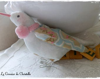 Bird fabric and pink PomPoms Tilda for spring