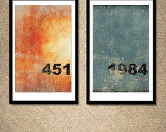 Fahrenheit 451 and 1984: (2) 11X17 Art Prints, With Heart Studios - Bradbury, Orwell, Big Brother, Gift, Poster, Vintage