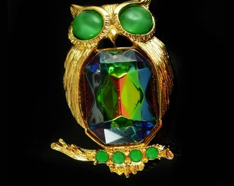 Jelly belly Owl Brooch vintage BIG Bird pin Figural signed costume jewelry teacher gift ophthalmology ophthalmologist gift